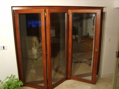 Mahogany Bi-Fold Doors